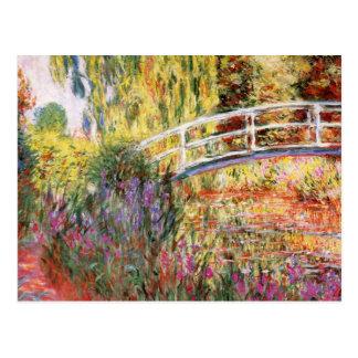 Monet's Bridge and Flowers Postcard