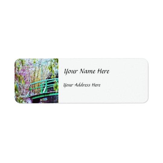 Monet's Bridge with Flowers Return Address Label