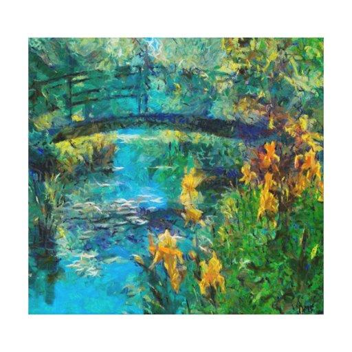 Monet's bridge with iris gallery wrap canvas