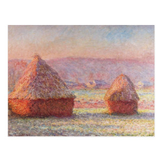 Monet's Haystacks, White Frost, Sunrise Postcard