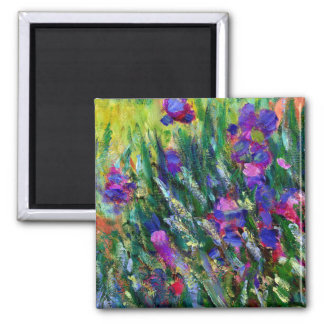 Monet's Iris Garden in Giverny Square Magnet