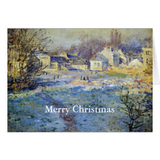 """Monet's painting, White Frost, """"Merry Christmas"""" Card"""