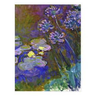 Monet's Water Lilies and Agapanthus Post Card