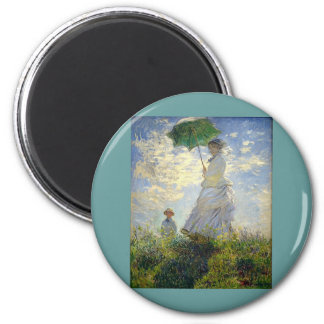 Monet's Woman with a Parasol (The Stroll / Walk) 6 Cm Round Magnet