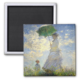 Monet's Woman with a Parasol (The Stroll / Walk) Square Magnet