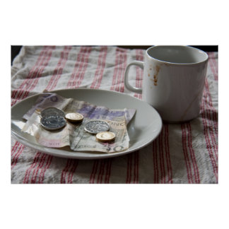 money and coffee poster