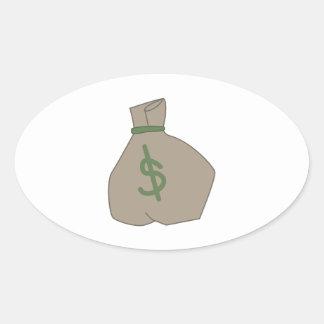 Money Bag Oval Sticker