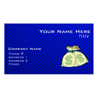 Money Bags; Blue Business Card Templates