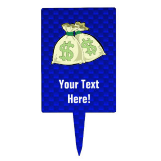 Money Bags Blue Cake Toppers