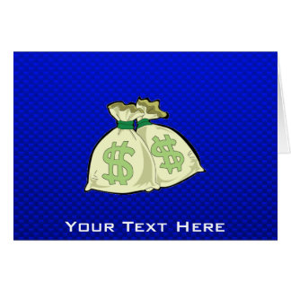 Money Bags; Blue Greeting Card