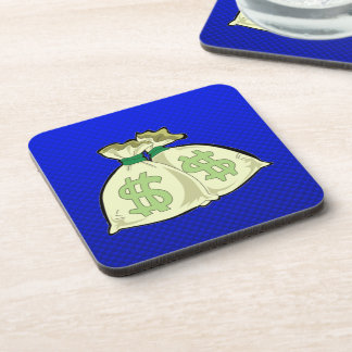 Money Bags Blue Drink Coasters