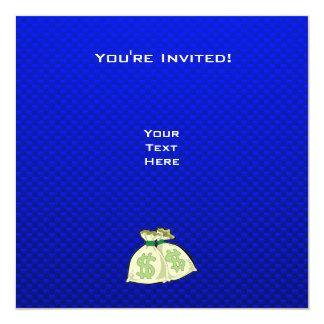 "Money Bags; Blue 5.25"" Square Invitation Card"