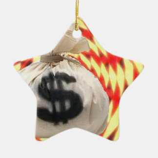 Money bags ceramic star decoration