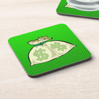 Money Bags Green Beverage Coaster