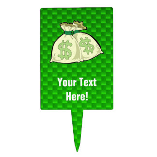 Money Bags Green Cake Toppers