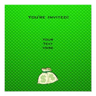 "Money Bags; Green 5.25"" Square Invitation Card"