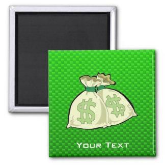 Money Bags; Green Refrigerator Magnets