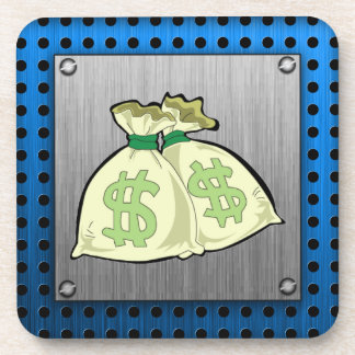 Money Bags Metal-look Beverage Coaster