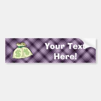 Money Bags; Purple Car Bumper Sticker