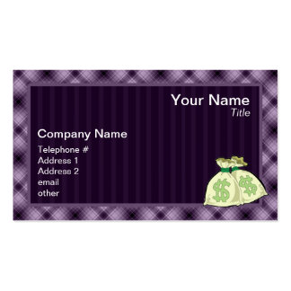 Money Bags; Purple Business Card