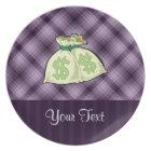 Money Bags; Purple Plate