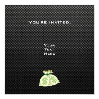 "Money Bags; Sleek 5.25"" Square Invitation Card"