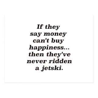 Money can't Buy Happiness Jet ski Black Blue Red Postcard