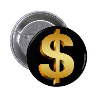 Money dollar symbol 6 cm round badge