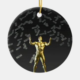 Money Falling From the Sky with Man Below Christmas Ornament