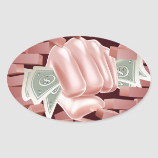Money Fist Punching Through Wall Oval Sticker