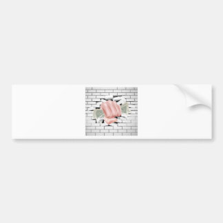 Money Fist Punching Through White Brick Wall Bumper Sticker