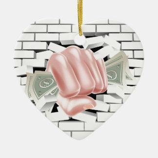 Money Fist Punching Through White Brick Wall Ceramic Heart Decoration