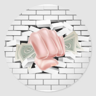 Money Fist Punching Through White Brick Wall Round Sticker