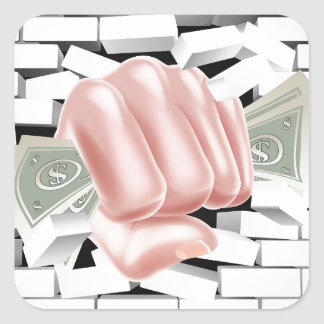 Money Fist Punching Through White Brick Wall Square Sticker