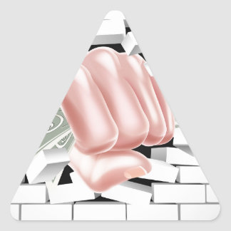 Money Fist Punching Through White Brick Wall Triangle Sticker