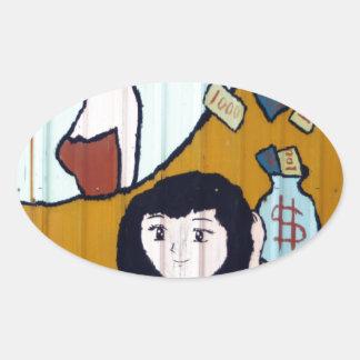 Money girls oval sticker
