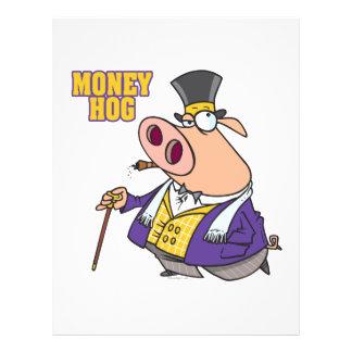 money hog funny rich pig cartoon 21.5 cm x 28 cm flyer