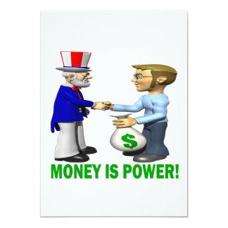 "Money Is Power 5"" X 7"" Invitation Card"