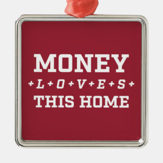Money Loves This Home Customizable White And Red Silver-Colored Square Decoration