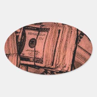MONEY MONEY MONEY OVAL STICKER