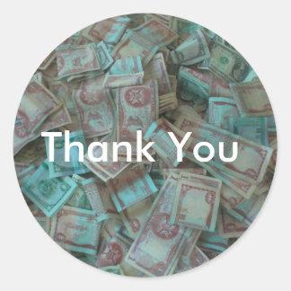 Money Money Money Round Sticker