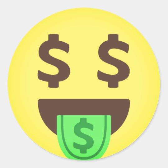 Money Mouth Emoji Classic Round Sticker