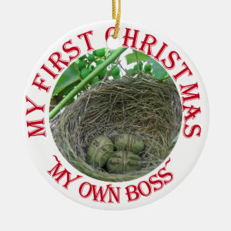 Money Nest Eggs Double-Sided Ceramic Round Christmas Ornament