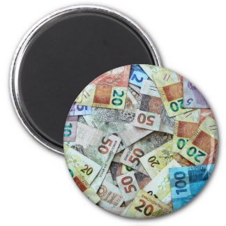 Money notes of Brazil - Real 6 Cm Round Magnet