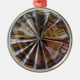 Money Origami Rosette Christmas Ornament