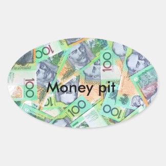 Money pit oval sticker