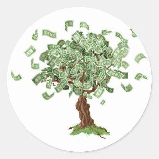 Money savings tree round sticker