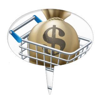 Money shopping cart trolley cake topper