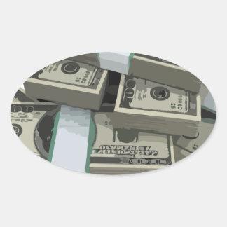 Money Stacks Oval Sticker