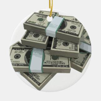 Money Stacks Round Ceramic Decoration